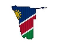 Karte und Fahne von Namibia auf Wellblech - Map and flag of Namibia on corrugated iron