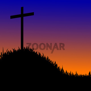 Wooden cross on a hill  the sunset background