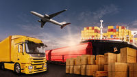 Transportation of goods by truck, plane, ship and train