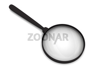 Magnifying glass with soft shadows on white. High resolution 3D image