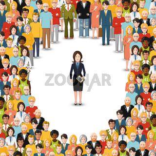 Businesswoman stayed apart from crowd, flat illustration on white