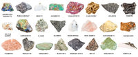 collection of natural mineral specimens with name