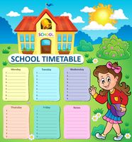 Weekly school timetable topic 3 - picture illustration.