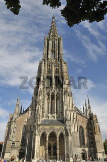 Ulmer Münster, mit 161, 53 Metern der höchste Turm der Welt, Münsterplatz, Ulm, Baden-Württemberg, Deutschland, Europa