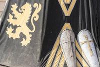 medieval shields next to war tent