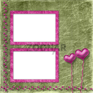Old frame with hearts for congratulation to holiday