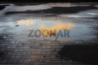 beautiful little pink cloud, illuminated by the setting sun, is reflected in a puddle in the square with paving tiles