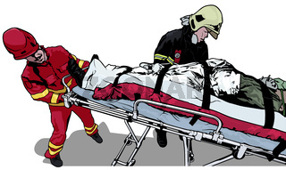 Rescuers and Saved Man on Stretcher
