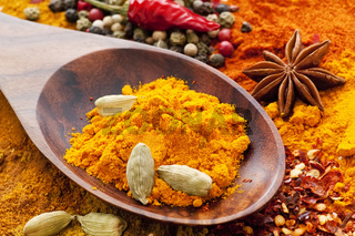 Exotically colorful spice mix with different power and grain and teak spoon as closeup