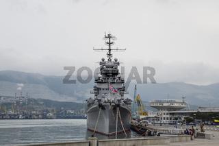 Warship Admiral Kutuzov. The area of Novorossiysk Sea Commercial Port.