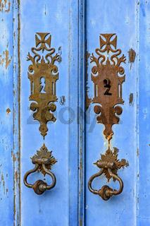 Old blue wooden church door
