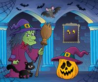 Witch with cat and broom theme image 6