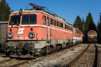 Old abandoned trains and freight wagon