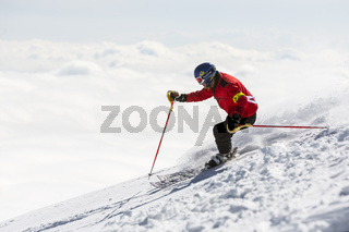 Freestyle skier skiing