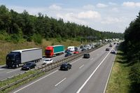 traffic jam on a highway in germany