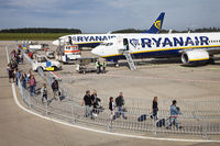 airport Frankfurt-Hahn, passangers entering a machine of Ryan Air, Germany, Europe