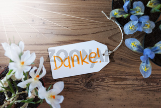 Sunny Flowers, Label, Danke Means Thank You