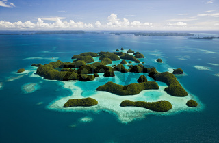 Luftaufnahme von Seventy Islands, Mikronesien, Palau, Aerieal View of Seventy Islands, Micronesia