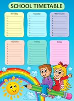 Weekly school timetable topic 7 - picture illustration.