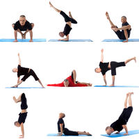 Set collection of sporty man doing yoga on white