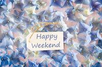 Sunny Hydrangea Flat Lay, Text Happy Weekend