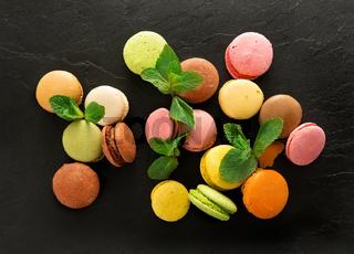 Macarons on stony table