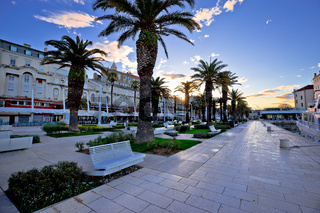 City of Split Riva waterfront sunrise view