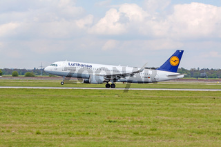Airplane of Lufthansa on landing approach, airport Stuttgart, Germany