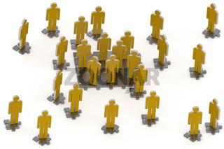 Figures on puzzle piece, 3d illustration