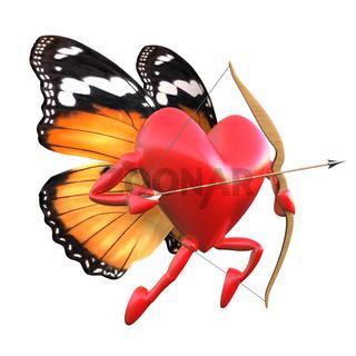 Kupido mit Schmetterlingsflügeln.