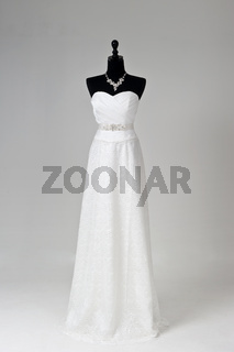 Modern white wedding dress isolated on Grey background