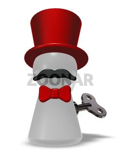 spielfigur mit zylinder und schnauzbart zum aufziehen - 3d illustration