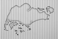 Karte von Singapur auf Wellblech  - Map of Singapore on corrugated iron