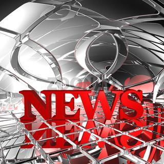 das wort news in futuristischer umgebung - 3d rendering