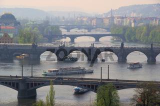 Prag Brücken von oben