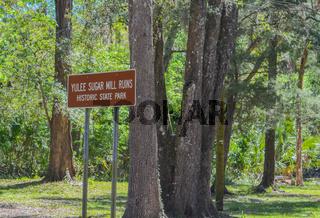 Sign for Yulee Sugar Mill Ruins