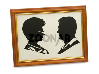 Silhouette of happy couple in frame