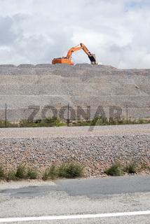 Front Loader Loading Gravel at Roads Works
