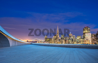 empty floor with cityscape and skyline of san francisco at night