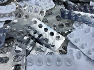 Leere Blisterpackungen von Tabletten