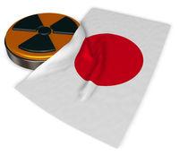 radioaktiv-symbol und flagge von japan - 3d illustration