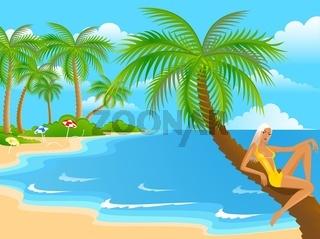 girl on the summer beach