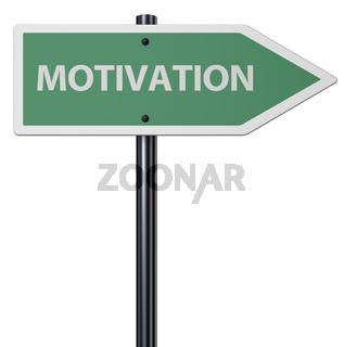 das wort motivation auf schild  vor weißem hintergrund - 3d rendering