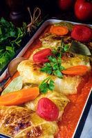 golabki - polish cabbage rolls in tomato sauce