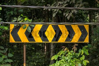 Yellow and black road signs.