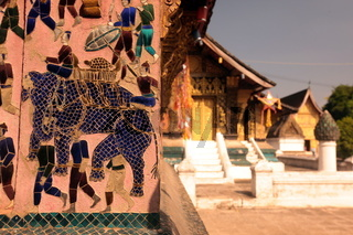 Der Tempel Xieng Thong in der Altstadt von Luang Prabang in Zentrallaos von Laos in Suedostasien.