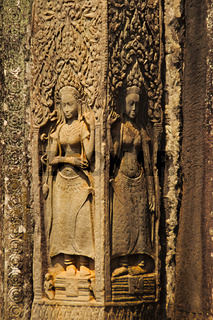 Apsaras carved on Bayon temple, Angkor Thom , Siem Reap, Cambodia. UNESCO World Heritage Site