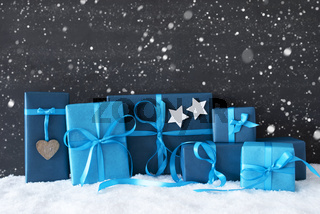 Blue Christmas Gifts, Black Cement Wall, Snow, Snowflakes