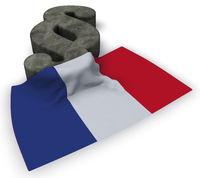 paragraph symbol und französische flagge - 3d illustration