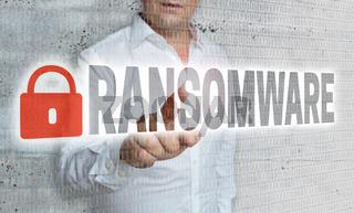 Ransomware mit Matrix und Businessman Konzept